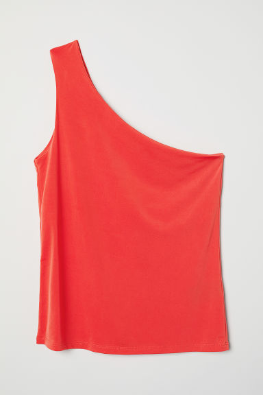One-shoulder top - Bright red - Ladies | H&M