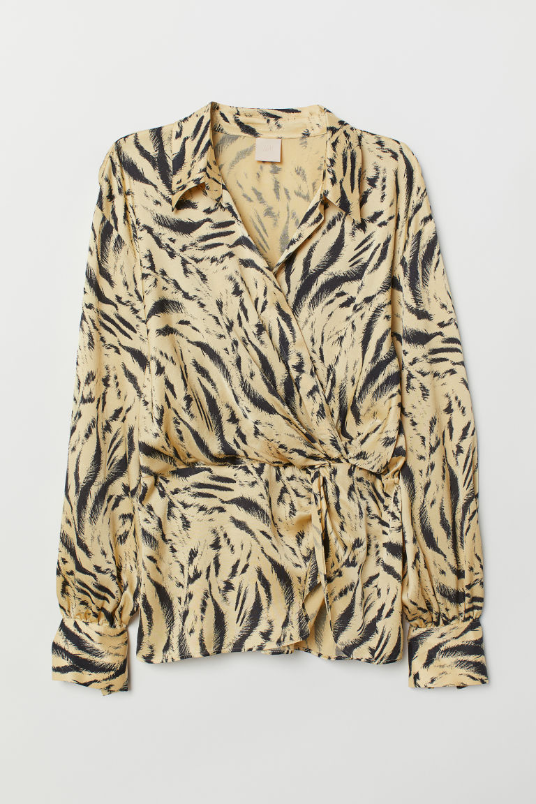 Wrapover blouse with a collar - Light yellow/Tiger striped - Ladies | H&M