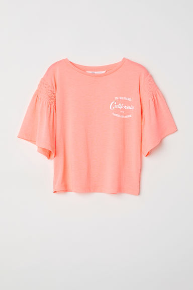 Top met volantmouwen - Koraalroze/California -  | H&M BE