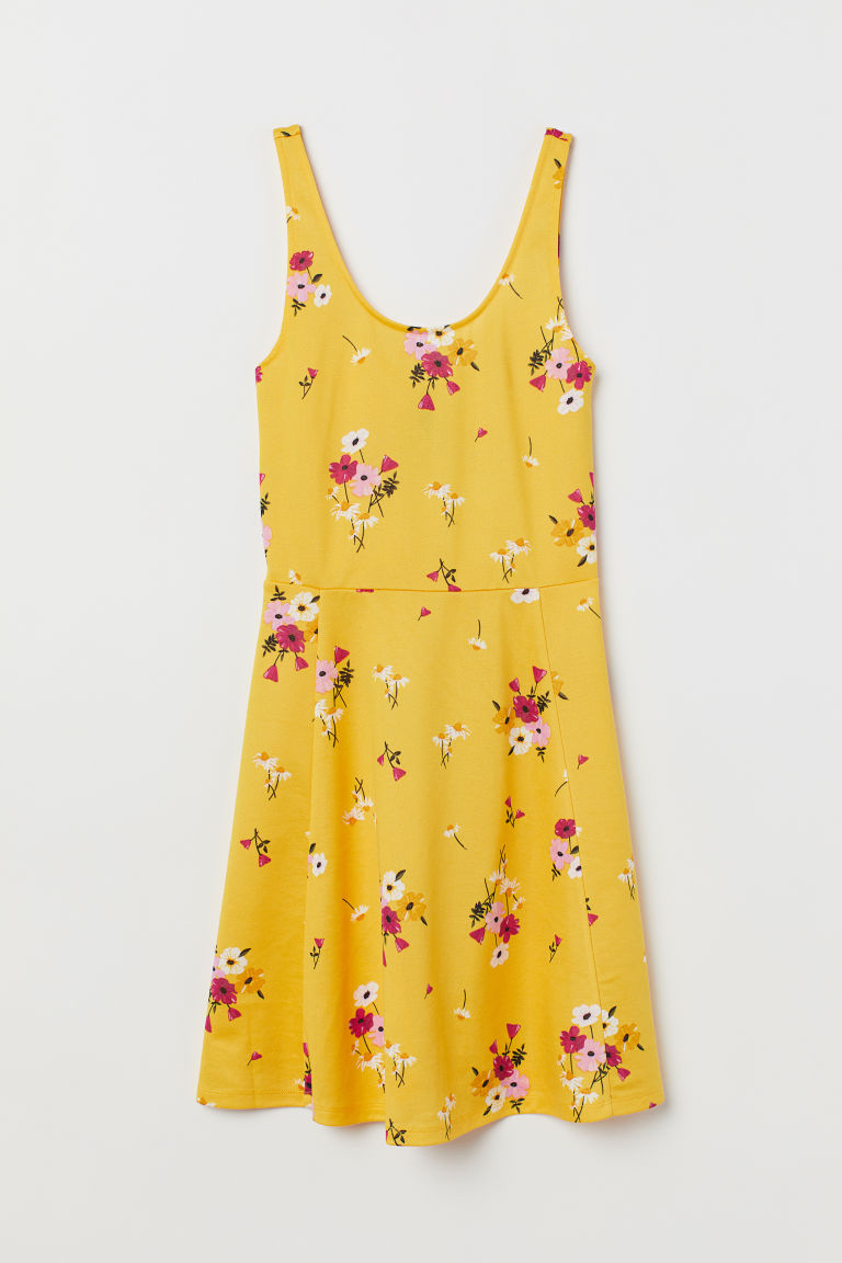 Sleeveless jersey dress - Yellow/Floral -  | H&M GB