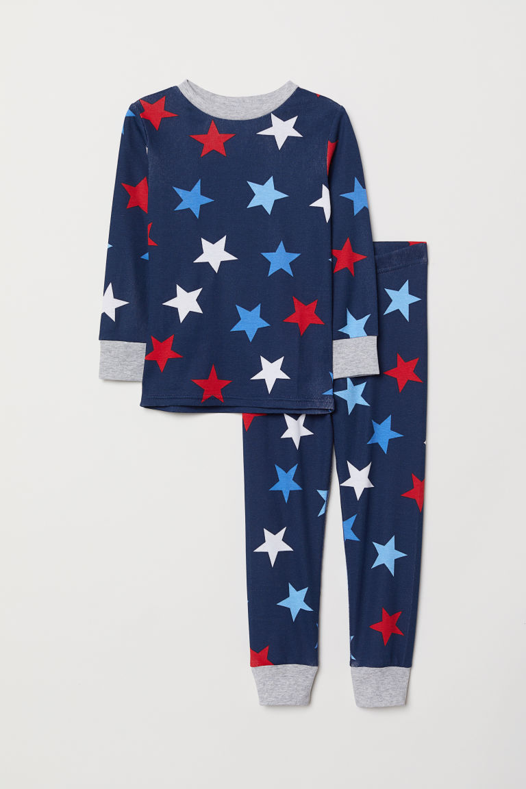 Jersey pyjamas - Dark blue/Stars - Kids | H&M