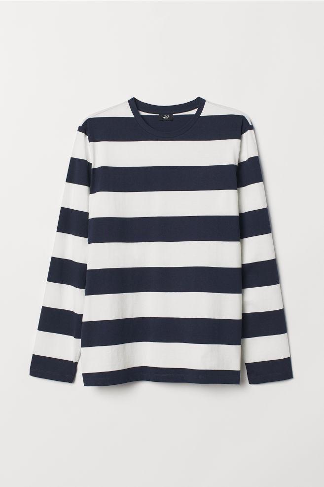 7bfcc757a2ff43 Long-sleeved top - Dark blue/White striped - Men | H&M ...
