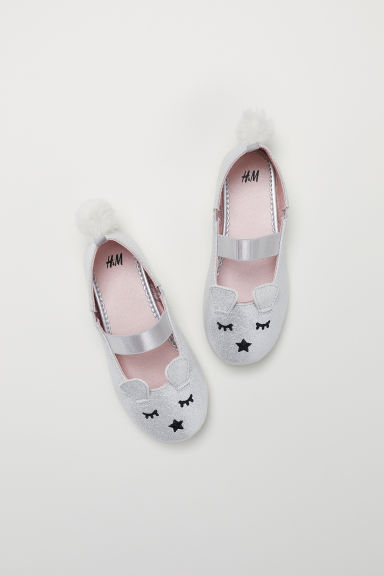 Ballet pumps - Silver-coloured/Glittery -  | H&M CN
