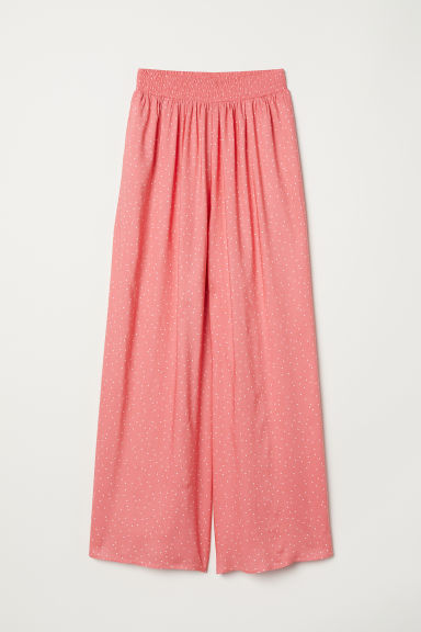 Wide trousers - Raspberry pink/Spotted - Ladies | H&M CN