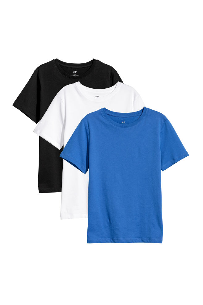 33b3edd9cd1 3-pack T-shirts - Blue White Black - Kids
