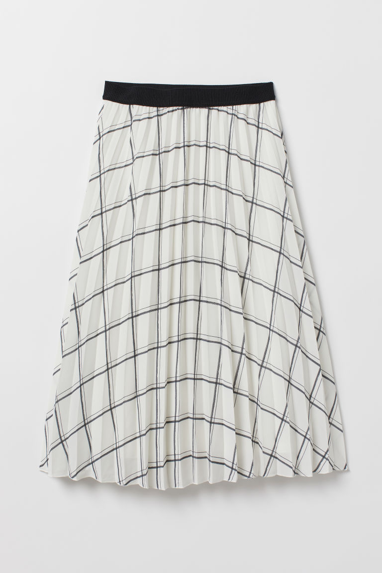 Pleated skirt - White/Checked -  | H&M