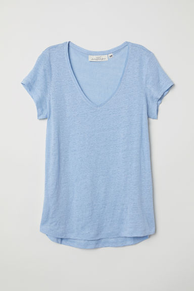 Linen top - Light blue - Ladies | H&M