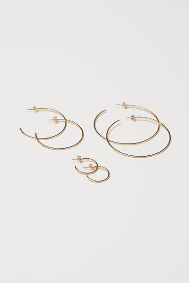3 pairs earrings - Gold-coloured - Ladies | H&M