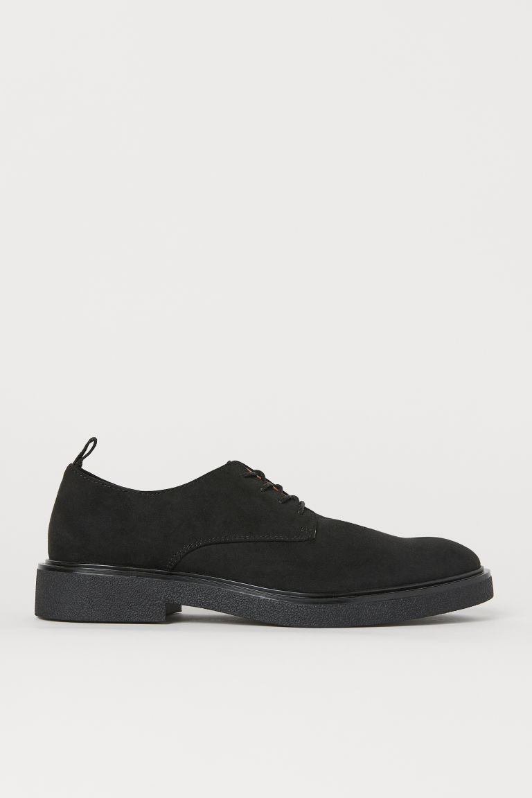 Derby shoes - Black/Imitation suede - Men | H&M