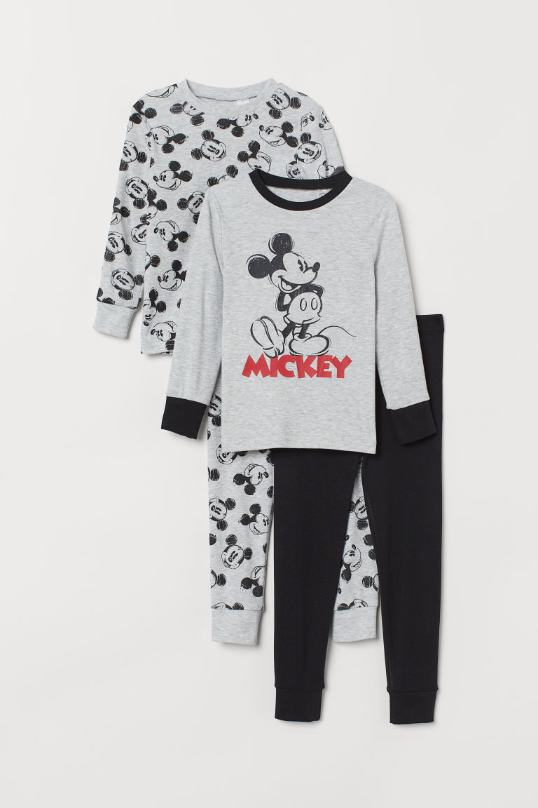 2-pack Jersey Pajamas - Lt. gray melange/Mickey Mouse - Kids | H&M US