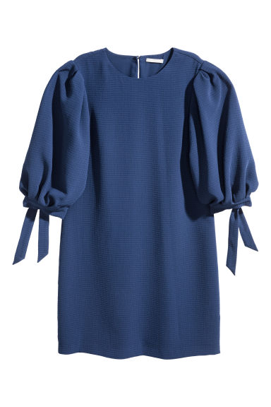 Puff-sleeved dress - Dark blue - Ladies | H&M CN