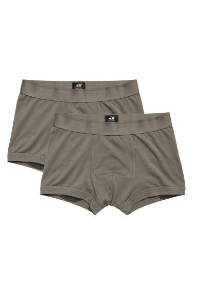 2-pack pima-cotton trunks - Khaki green - Men | H&M