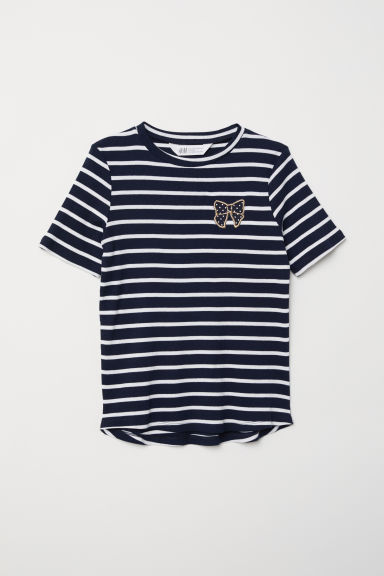 T-shirt a costine - Blu scuro/righe - BAMBINO | H&M IT