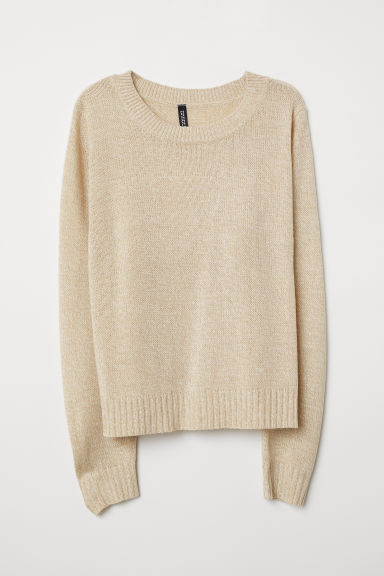 Knitted jumper - Light beige marl -  | H&M GB