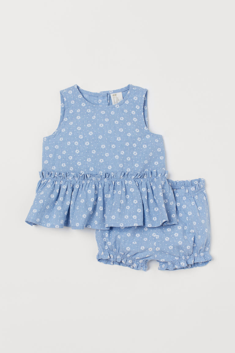 Peplum top and puff pants - Light blue/Floral - Kids | H&M