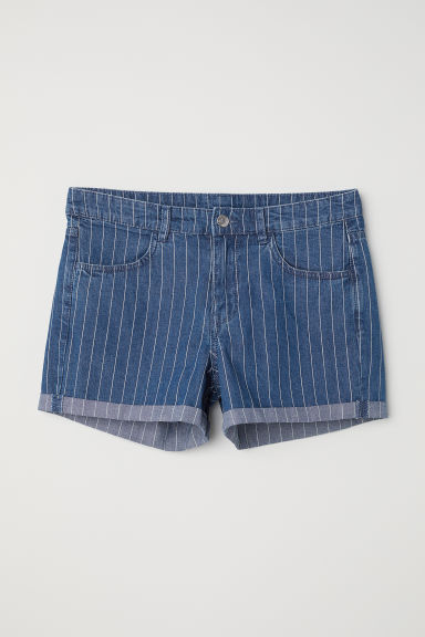 Denim Shorts - Denim blue/narrow-striped -  | H&M US