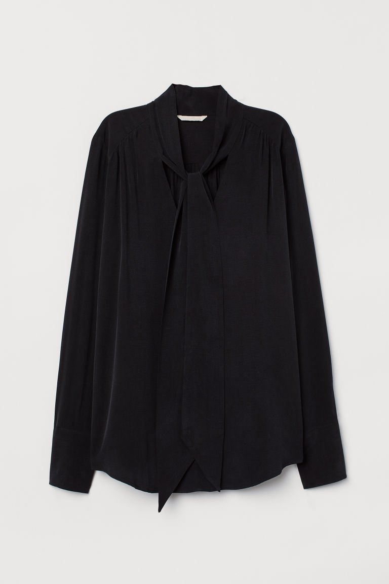 Tie-collar blouse - Black - Ladies | H&M GB