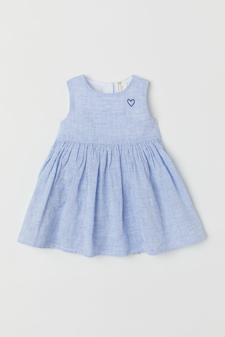Linen-blend dress - Light blue - Kids | H&M