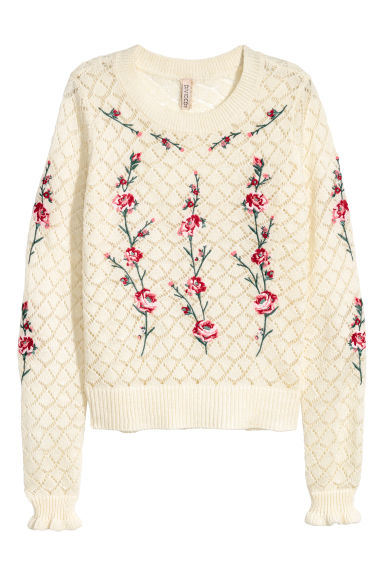 Knitted wool-blend jumper - Natural white/Flowers - Ladies | H&M GB