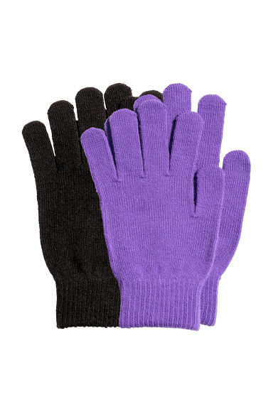 2-pack gloves - Purple/Black - Ladies | H&M