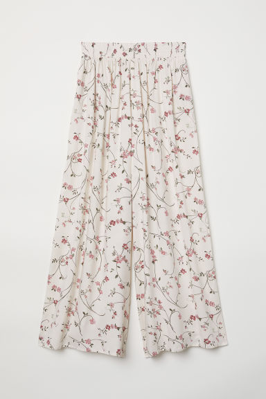 Cropped viscose trousers - Natural white/Floral - Ladies | H&M