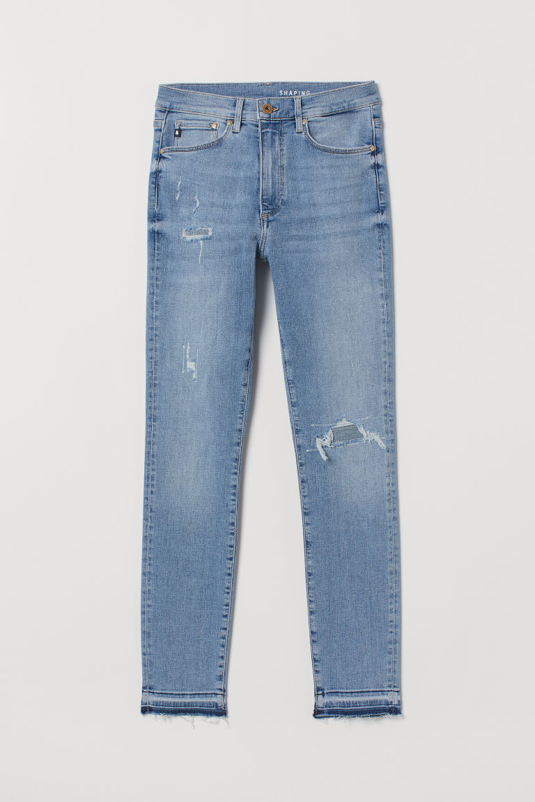 Shaping Skinny High Jeans - ライトデニムブルー/Trashed -  | H&M JP