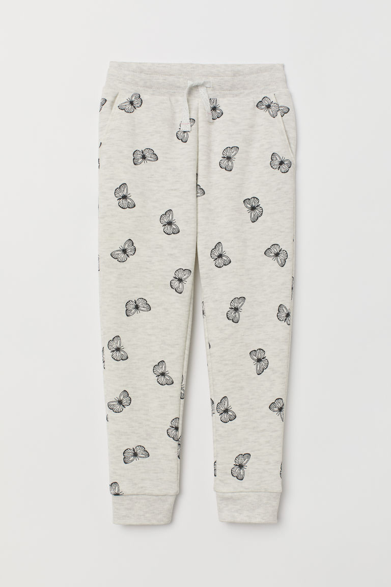 Joggers - Light grey marl/Butterflies - Kids | H&M