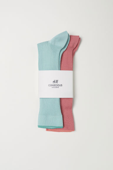 2-pack calf-length socks - Mint green/Coral - Ladies | H&M CN