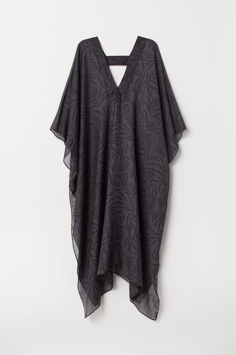 Patterned kaftan - Black/Leaf-patterned - Ladies | H&M CN