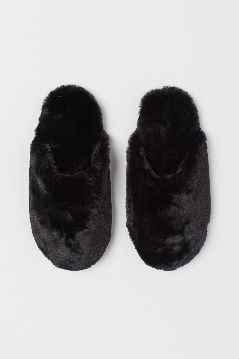 Warm-lined slippers - Black - Ladies | H&M IN