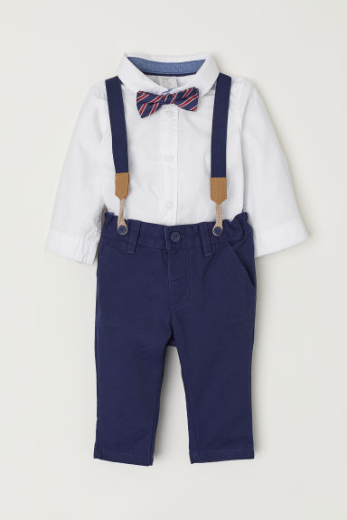 Shirt and Chinos - White/Dark blue - Kids | H&M CN