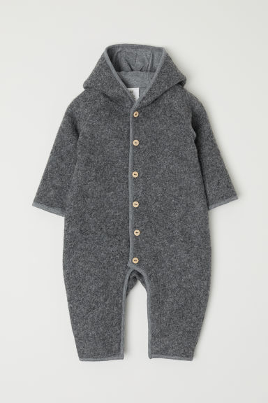 Wool-blend all-in-one suit - Grey marl - Kids | H&M