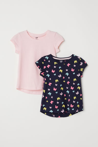 2-pack T-shirts - Dark blue/Butterflies - Kids | H&M