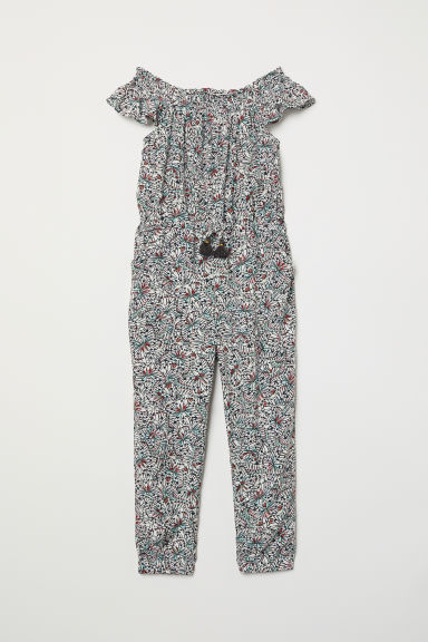 Jumpsuit with smocking - Natural white/Patterned - Kids | H&M