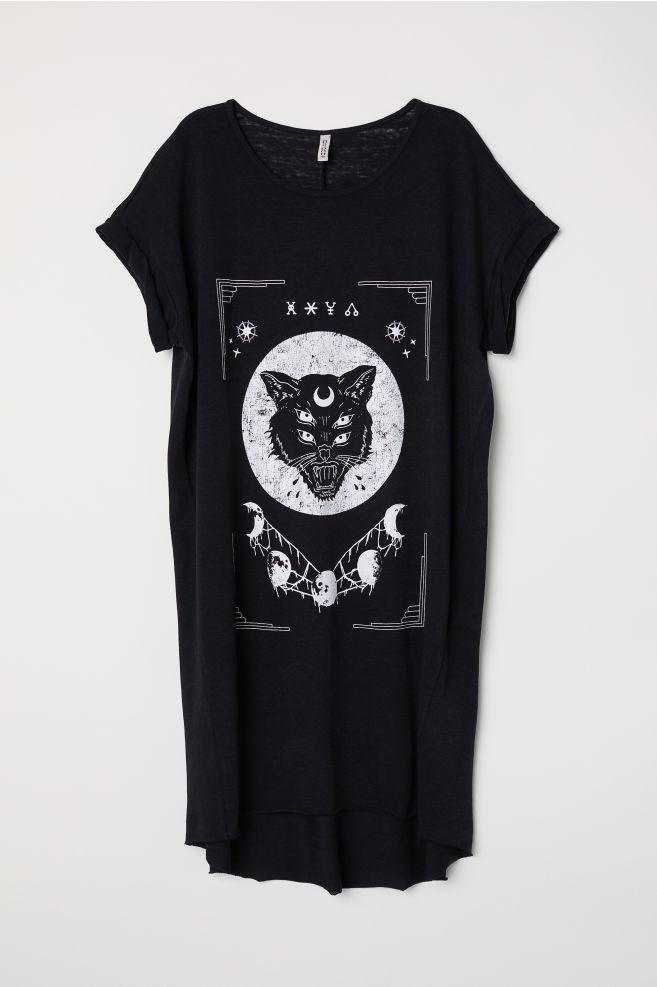 Modne ubrania Sukienka typu T-shirt - Czarny/Kot - ONA   H&M PL KQ15