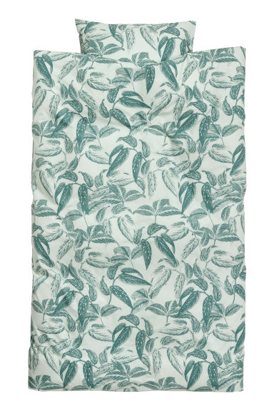 Leaf-print duvet cover set - Dusky green/Leaf-print - Home All | H&M CN