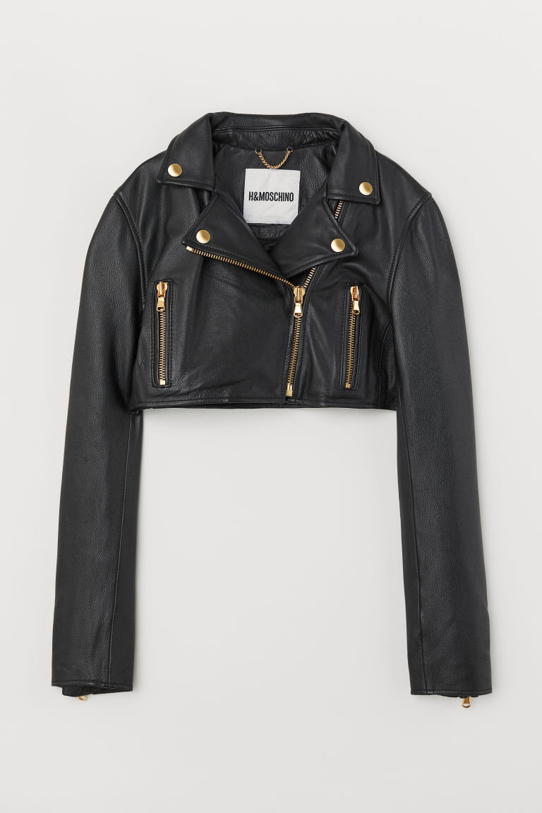 Cropped leather biker jacket - Black - Ladies | H&M GB