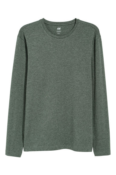 Long-sleeved jersey top - Khaki green/Marled - Men | H&M