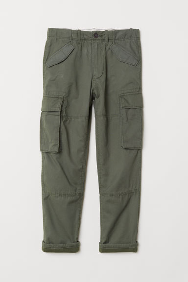 Lined cargo trousers - Khaki green - Kids | H&M
