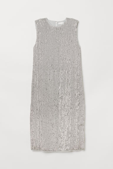 Sleeveless sequined dress - Silver-coloured - Ladies | H&M CN