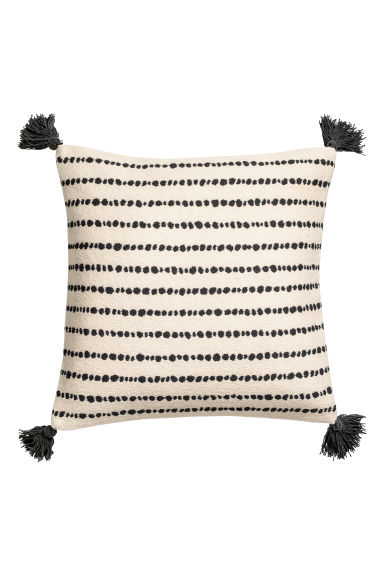 Tasselled cushion cover - Natural white/Black spotted -  | H&M GB