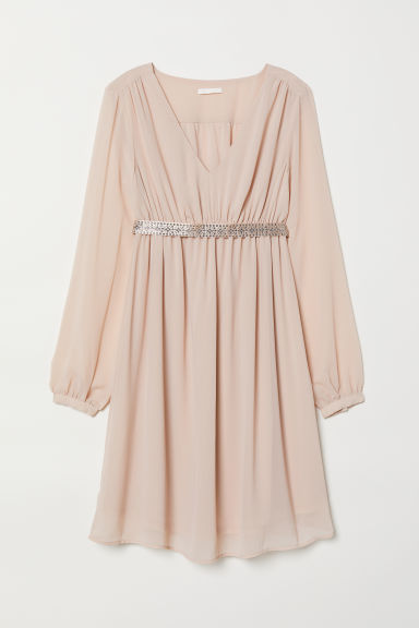 MAMA Dress with a sparkly belt - Powder pink - Ladies | H&M