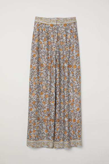 Wide trousers - Light blue/Floral - Ladies | H&M