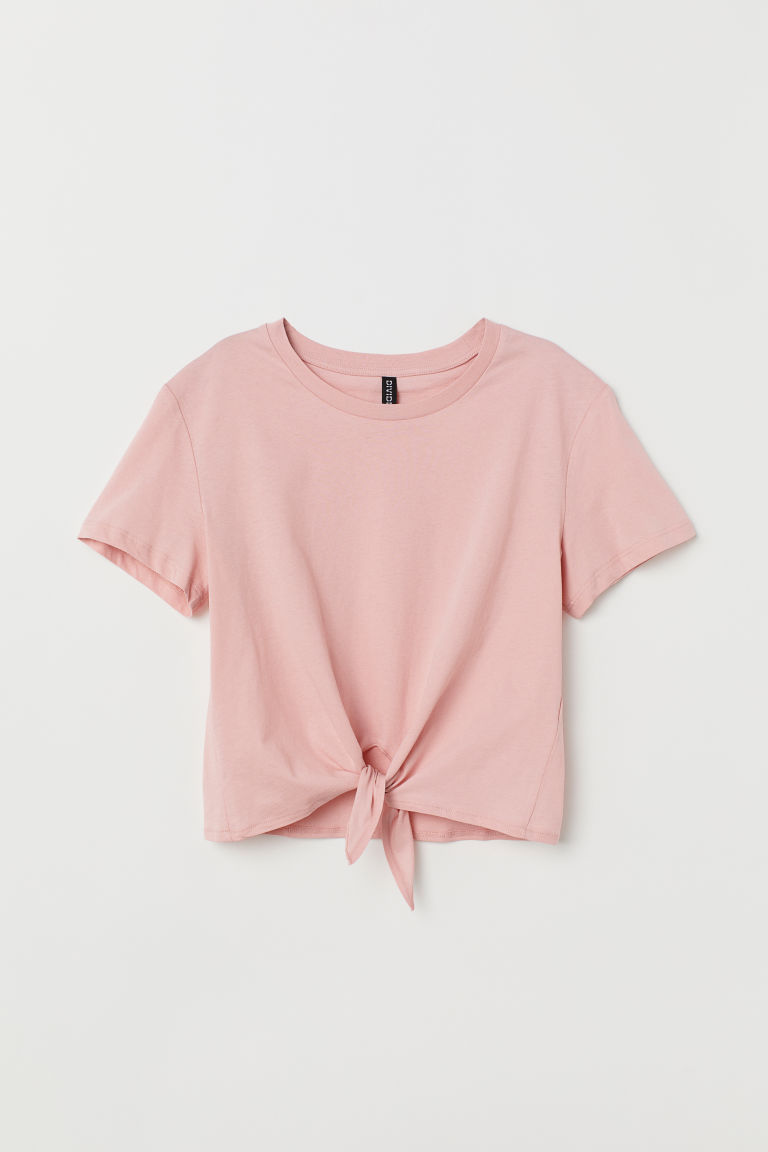 Tie-detail T-shirt - Light pink -  | H&M