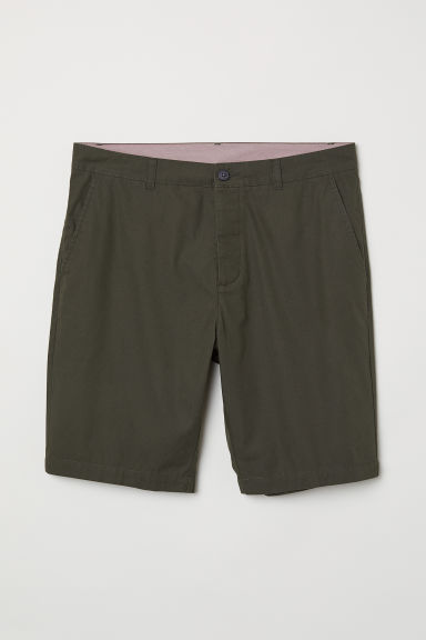 Knee-length cotton shorts - Dark khaki green - Men | H&M