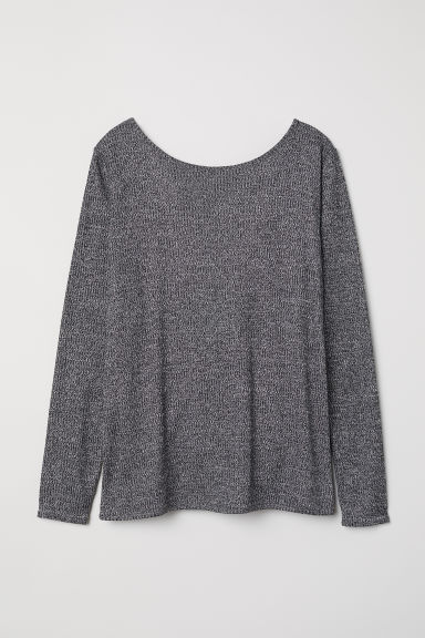 Ribbed top - Black marl - Ladies | H&M CN