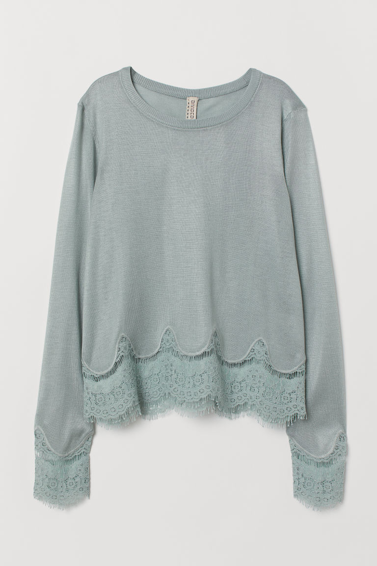 Jumper with lace details - Dusky green -  | H&M