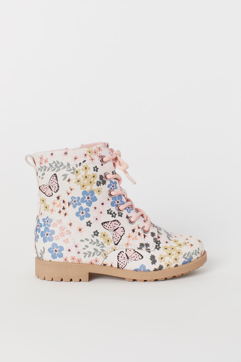 Patterned Boots - Light beige/floral - Kids | H&M US