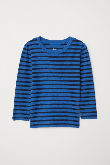 Long-sleeved jersey top - Blue/Striped - Kids | H&M CN