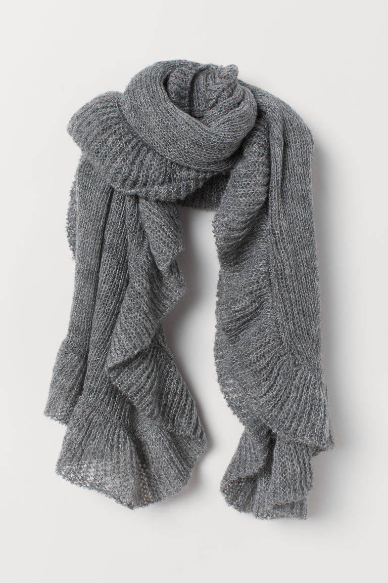 Knitted flounced scarf - Dark grey - Ladies | H&M CN